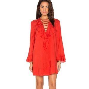 IRO poppy Red Florine LaceUp Long Sl Dress revolve